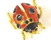 Enamel Lady Bug Brooch, Painted Ladybug figural pin, Vintage Retro