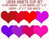 Hearts Clip Art, Large Size Hearts Cliparts, Heart Graphics, Heart Shapes, Digital Download, Digital Scrapbooking, JPG and PNG Cliparts