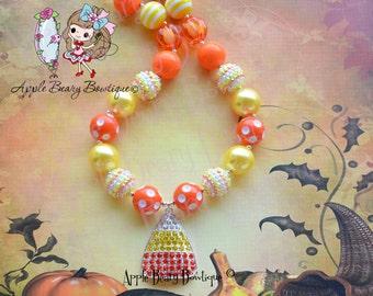 Candy Corn Necklace Halloween Necklace Halloween Candy Corn Chunky Necklace Halloween Candy Corn Bubblegum Necklace