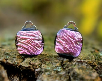 Pink dichroic glass clip on earrings