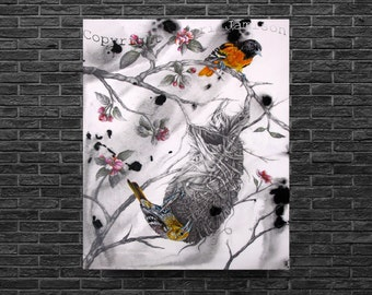 Karri Jamison Canvas PRINT, Title:Baltimore Orioles In The Spring,GICLEE PRINT on Canvas 12x15 inches