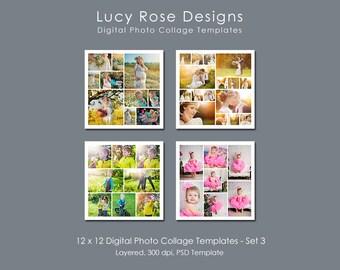 12 x 12 Photo Collage Templates - Set 3