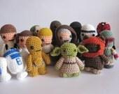 Star wars inspired amigurumi. 14 crocheted  star wars characters. Star Wars Softy. Star wars plush.