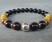 Black tourmaline bracelet Sterling silver Om bracelet Mens bracelet bead Wrist mala beads Garnet, Tiger Eye, Tourmaline Love bracelet men
