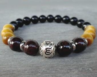 Black tourmaline bracelet Sterling silver Om bracelet Mens bracelet bead Wrist mala beads Garnet, Tiger Eye, Tourmaline Love bracelet men