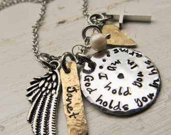 Memorial Necklace - Mixed Metal Necklace - Personalized Jewelry - Hand Stamped Jewelry - Miscarriage - Loss of Loved One