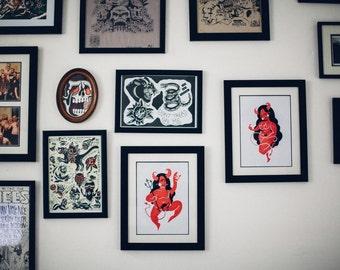 Dancing Devil A5 Art Print Pair