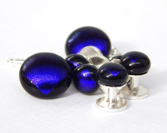 Dichroic Glass Mens Jewelry  - Sterling Silver Blue Glass Cufflings and Tuxedo Studs - Fused Glass Shirt Stud Set