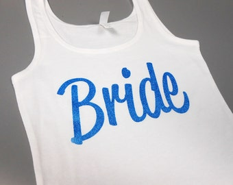 Something Blue Tank Top, Blue Bride Tank, Bachelorette Tank Tops. Jersey Style Bachelorette Tops, Bride Bridesmaid Maid Matron of Honor MOH