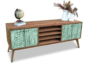 Flash Sale! Eco Recycled Solid Timber Modern Mid Century Retro Scandi Wooden TV Stand Entertainment Unit With Shelves in Teal Jade Green