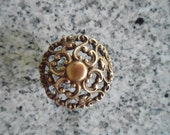 Antique Vintage French Provincial Dresser Drawer Furniture Knob 1 1/2 Inches Ornate Brass Design Restoration Hardware Shabby Chic