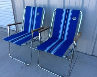 2 Vintage Retro Zip Dee Canvas Folding airstream RV Camping Lawn Chairs