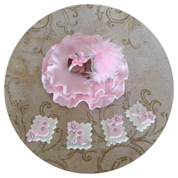 tutu baby shower cake topper fondant cake topper baby girl tutu