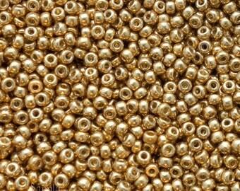 15/0 Miyuki Duracoat Galvanized Gold Seed Beads - 8 grams - Color 15-4202 - Miyuki 15/0 Seed Beads - 2868 - Galvanized Gold 15/0 Bead