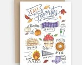 Fall Greeting - Fall Favorites Notecard - Fall Greeting Card - Just Because Card - Hand Lettering - Illustrated Art