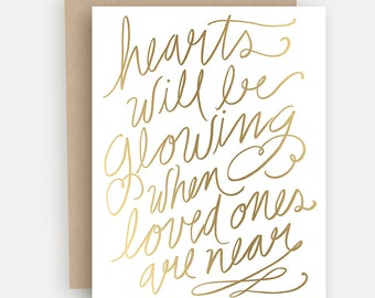 Gold Foil Christmas Card - Elegant Christmas Card - Holiday Greeting Card - Hand Lettered Card