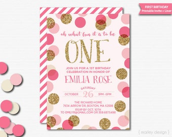 First Birthday Invitation Printable Girls Birthday Pink Gold Glitter Polka Dots Confetti Birthday Invitation Digital Oh What Fun Invite