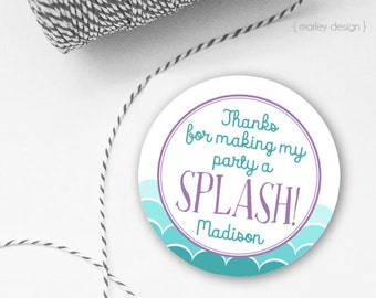 Mermaid Tags Mermaid Party Favor Tags Personalized Printable Tags Girls Birthday Mermaid Gift Tags Mermaid Party Tags Under the Sea Tags