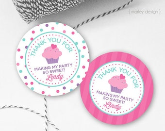 Cupcake Party Tags Printable Personalized Cupcake Tags Cupcake Favors Cupcake Favor Tags Thank You Tags Cupcake Party Decor Customized Label