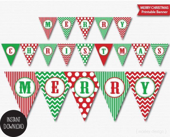 Christmas Banner Printable Classic Colors Holiday Banner Merry ...