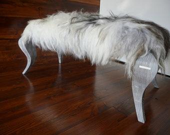 Ottoman style bench on silver Oak wood leg - Upholstered with Icelandic white black mix sheepskin - Design Furniture by MILABERT  (OB05162)