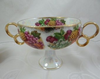 1950s Royal Sealy China Fruit Lusterware Fruit Chalice - Stunning