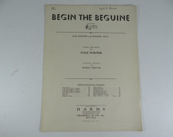 """Vintage 1935 Piano Sheet Music - """"Begin the Beguine""""  by Cole Porter"""