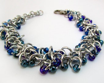 Blue Beaded Bracelet – Shaggy Loops Weave Chainmaille Bracelet – Handmade Chainmail
