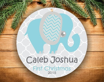 Baby's First Christmas Ornament Personalized Christmas Ornament Christmas Decorations Ornament Elephant Baby Boy Ornament New Baby Gift