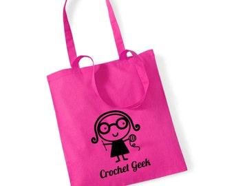 Crochet Geek 100% Cotton Tote Bag