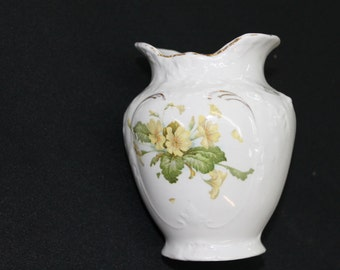 vintage small toothbrush holder vase yellow flowers