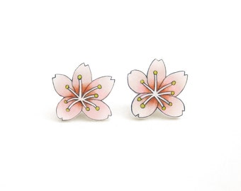 Cherry Blossom Earrings, Cherry Blossom Jewelry, Cherry Blossom Jewellery, Flower Earrings, Flower Jewelry, Flower Jewellery, Shrink Plastic