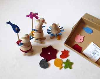 Organic Wooden Toys, Funny Plug In Figures, Old New Stock
