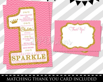 Pink and Gold 1st Birthday Invitation - FREE Thank You Card