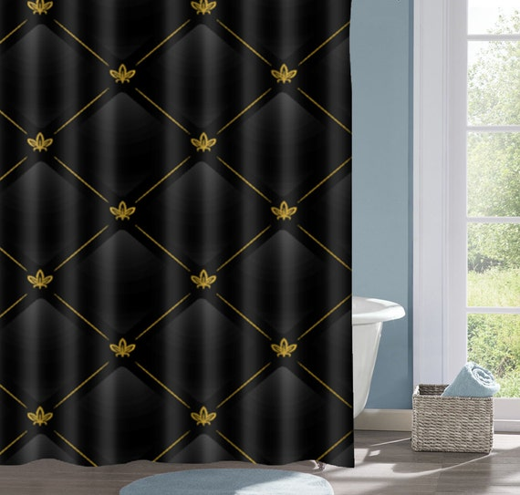Black And Gold Geometric Bathroom Shower Curtain Black Bath