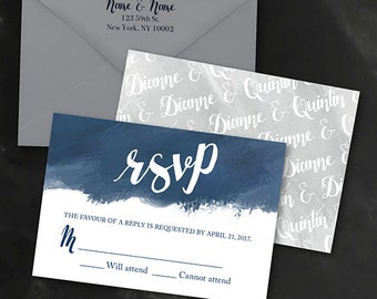 Reply Card | Digital RSVP Card | Printed RSVP Card | Printed Reply Card |Digital Reply Card | Painted Geometric | Ara