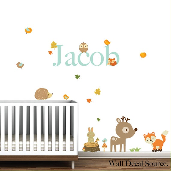 nursery wall decals woodland animals with name stump fox. Black Bedroom Furniture Sets. Home Design Ideas