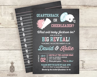 Quarterback or Cheerleader? Football Inspired Gender Reveal Invitations - Colors Used: Chalkboard Charcoal, Baby Girl Pink & Baby Boy Blue