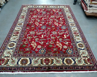 Persian Rug - 1980s Hand-Knotted Tabriz Rug (3361)