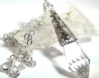 Clear Czech Crystal Point Filigree Necklace Bohemian Jewelry