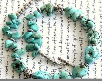 Turquoise Magnesite Nugget Necklace Bohemian Jewelry