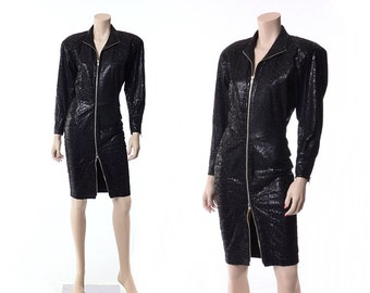 Vintage 80s North Beach Black Leather Scuba Dress 1980s Michael Hoban Snakeskin Embossed Sexy Tight Wiggle Fitted Dress / XS