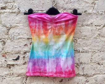 Tube Top Strapless Top Boob Tube Tie Dye Rainbow to fit UK size 8 or US size 4 Hippie Festival Beach Tumblr Pride Holiday Coachella LGBT