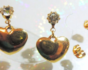 Puff Heart Dangle Earrings Gold Tone Post