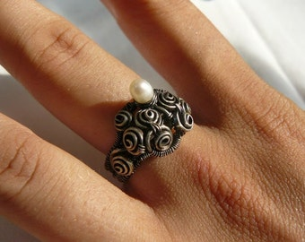 FORGOTTEN Rose Garden - Sterling Silver - Wire Wrapped - Ring - size 8