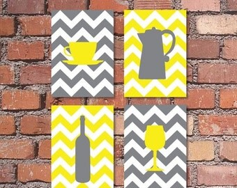 "ON SALE Kitchen Art Coffee and Wine Chevron Art Prints - Set of (4) - 4"" x 6"", 5"" x 7's"" OR 8"" x 10"" // Grey and Yellow // Modern Kitchen Ar"