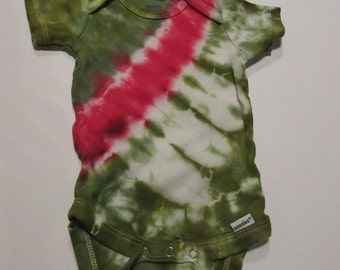 Green & Red Bandolier Stripe Baby Onesie ~ 3-6 mos.