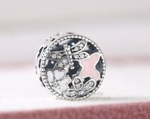 2016 Spring Collection 925 Sterling Silver Springtime Charm with White and Pink Enamel and Clear CZ Clip Charm Fit Beads Bracelets DIY BE336