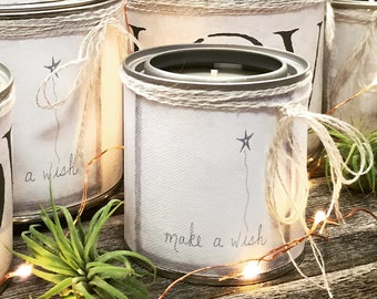 SCENTED SOY CANDLE - All Natural Candle In Tin - Wrapped In Our Canvas Art - Make A Wish