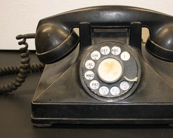 Vitage Northern Electric Black Rotary Dial Telephone